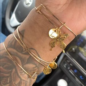 Jewelry - SOLD Gold First Initial w/ Charm Bangle